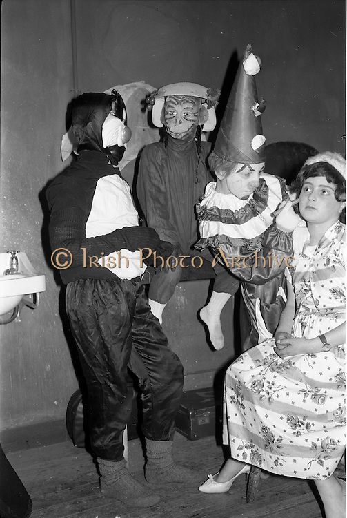 "29/03/1963<br /> 03/29/1963<br /> 29 March 1963<br /> Schools drama festival at the Gate Theatre, Dublin Image shows, preparing for their presentation of ""Circus Coco"" pupils of St. Joseph's School, Mardyke, Cork. Left- right are: Robert Donavan; William Keating; Finbarr Carlile and Barry McCarthy."