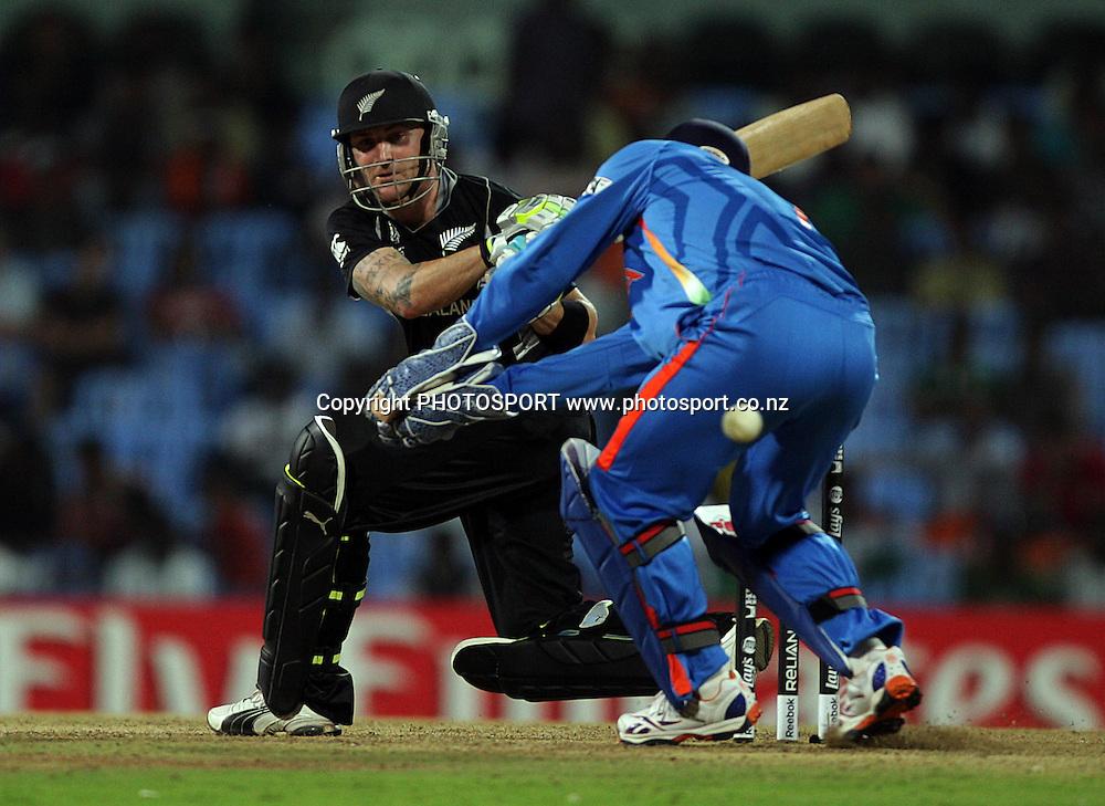 Brendon McCullum batting during the India v New Zealand 2011 ICC World Cup Warm up game. MA Chidambaram Stadium, Chennai, India. 16 February 2011. Photo: photosport.co.nz