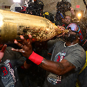 BOSTON, MA - OCTOBER 30: David Ortiz #34 of the Boston Red Sox celebrates after winning  the World Series against the St. Louis Cardinals on  October 30, 2013 at Fenway Park in Boston, Massachusetts. (Photo by Michael Ivins/Boston Red Sox/Getty Images) *** Local Caption *** David Ortiz