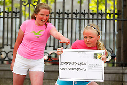 Repro Free: 26/06/2013<br /> Elaine Crossan (12) from Rathfarnham and Libby Simmons (10) from Mount Merrion pictured delivering a postcard to Oireachtas members reminding them of the Government&rsquo;s promise to publish legislation to protect young people from using cancer-causing sunbeds. The Irish Cancer Society launched a national campaign calling on Government to publish the long-awaited legislation to regulate sunbed use so that children and young people are protected from the risk of developing skin cancer. There is currently no regulation of sunbeds in Ireland, meaning that children under 18 and those with very fair skin can use sunbeds without proper warning or supervision. Picture Andres Poveda