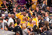 17 June 2010:  Ron Artest, Josh Powell, D.J. Mbenga of Los Angeles Lakers celebrate after the Lakers defeat the Boston Celtics 83-79 and win the NBA championship in Game 7 of the NBA Finals at the STAPLES Center in Los Angeles, CA.