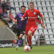 Jim McAlister is chased by Morecambe's Jack Redshaw - Morecambe v Dundee, pre-season friendly at the Globe Arena<br /> <br />  - &copy; David Young - www.davidyoungphoto.co.uk - email: davidyoungphoto@gmail.com