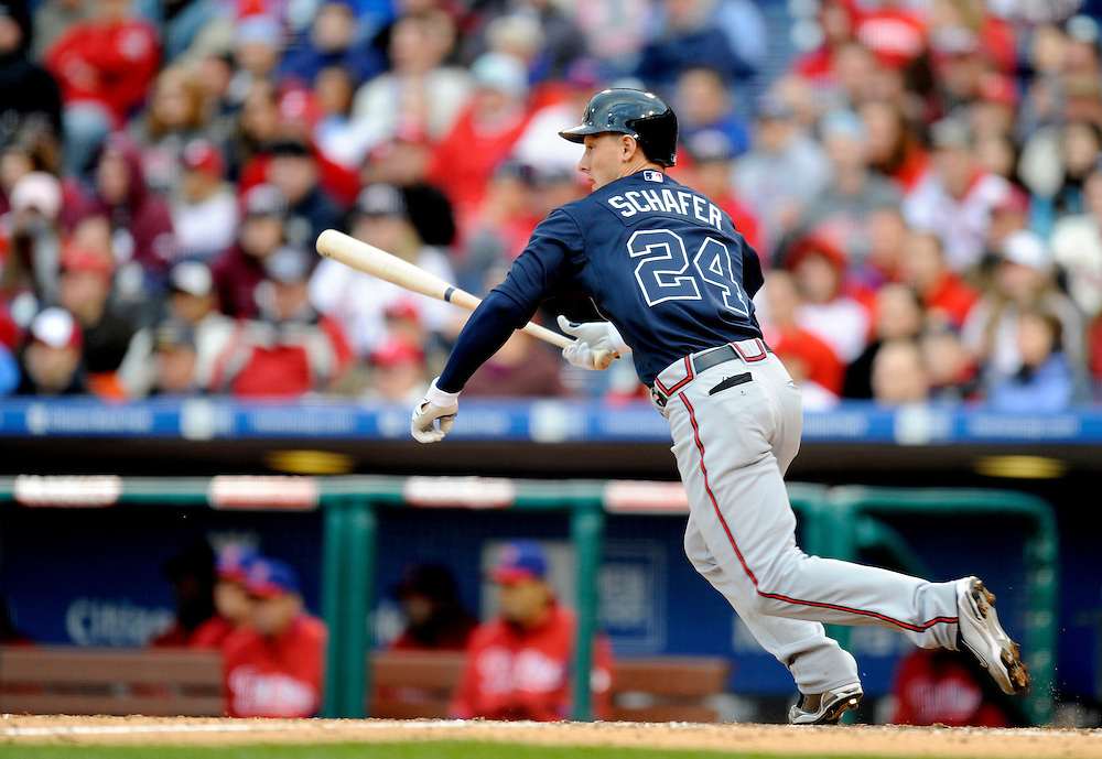 PHILADELPHIA - APRIL 08: Jordan Schafer #24 of the Atlanta Braves at bat against the Philadelphia Phillies at Citizens Bank Park on April 8, 2009 in Philadelphia, Pennsylvania. The Phillies defeated the Braves 12 to 11.(Photo by Rob Tringali) *** Local Caption *** Jordan Schafer