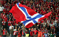 Fotball , 06. september 2008 , VM-kvalifisering Norge - Island 2-2 Norway - Island 2-2 <br /> illustrasjon , norske flagg , flagget , publikum , fan , fans , supporter , supportere