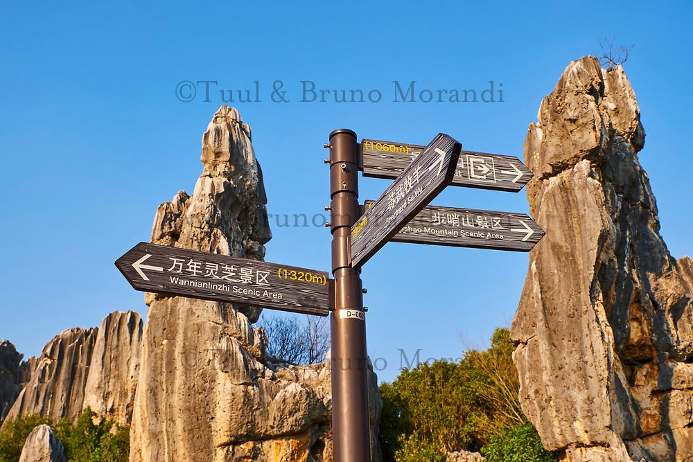 Chine, Yunnan, Foret de pierre de Shilin a Lunan, signaletique pour la randonnée // Limestone pinnacles in Shilin, Stone Forest, at Lunan, Yunnan, China, signboard for trek