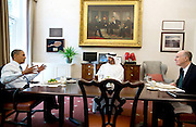 27.JUNE.2012. WASHINGTON D.C.<br /> <br /> PRESIDENT BARACK OBAMA HAS LUNCH WITH ABU DHABI CROWN PRINCE MOHAMMED BIN ZAYED AL NAHYAN OF THE UNITED ARAB EMIRATES, IN THE OVAL OFFICE PRIVATE DINING ROOM, JUNE 27, 2012. NATIONAL SECURITY ADVISOR TOM DONILON JOINS THEM.  <br /> <br /> BYLINE: EDBIMAGEARCHIVE.CO.UK<br /> <br /> *THIS IMAGE IS STRICTLY FOR UK NEWSPAPERS AND MAGAZINES ONLY*<br /> *FOR WORLD WIDE SALES AND WEB USE PLEASE CONTACT EDBIMAGEARCHIVE - 0208 954 5968*