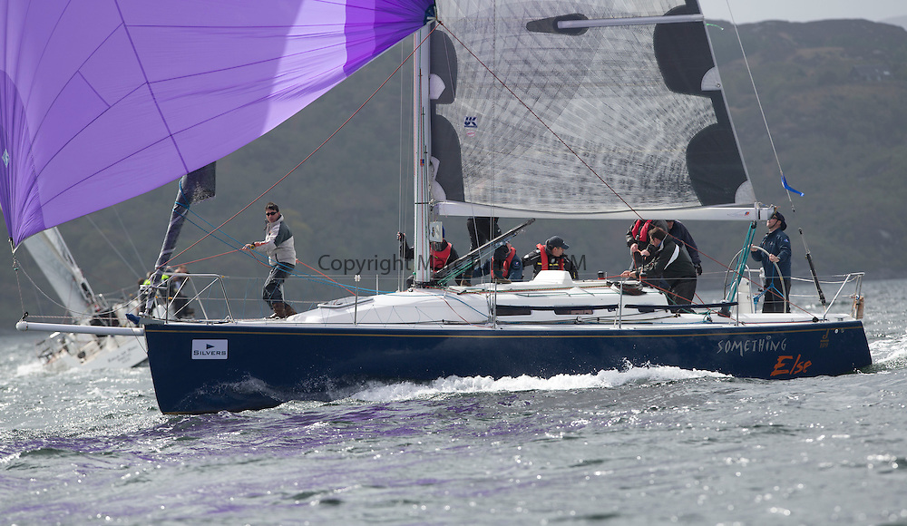 Day one of the Silvers Marine Scottish Series 2015, the largest sailing event in Scotland organised by the  Clyde Cruising Club<br /> Racing on Loch Fyne from 22rd-24th May 2015<br /> <br /> IRL29213, Something Else, Hall/McDonnell, National YC, J109<br /> <br /> Credit : Marc Turner / CCC<br /> For further information contact<br /> Iain Hurrel<br /> Mobile : 07766 116451<br /> Email : info@marine.blast.com<br /> <br /> For a full list of Silvers Marine Scottish Series sponsors visit http://www.clyde.org/scottish-series/sponsors/