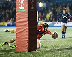 Bethan Lewis of Wales Women scores her sides third try<br /> <br /> Photographer Simon King/Replay Images<br /> <br /> Friendly - Wales Women v Hong Kong Women - Friday  16th November 2018 - Cardiff Arms Park - Cardiff<br /> <br /> World Copyright © Replay Images . All rights reserved. info@replayimages.co.uk - http://replayimages.co.uk