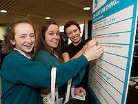 11/11/2015 Repro free:   More than 300 students visited the Marine Institute for Galway Science &amp; Technology Festival and the Sea for Society project. At the event were <br /> pupils from Colaiste na Coirbe Ava Barrett and Cliodhna N&iacute; Sh&eacute;. Photo:Andrew Downes, xposure.