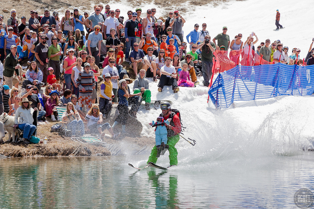 """Cushing Classic at Squaw Valley 2"" - Photograph of a skier crossing a pond during the Cushing Classic at Squaw Valley, USA."