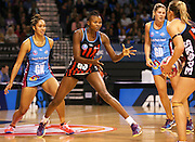 Mwai Kumwenda of the Tactix waits for the ball during the ANZ Championship Netball game between the Tactix v Steel at Horncastle Arena in Christchurch. 6th April 2015 Photo: Joseph Johnson/www.photosport.co.nz