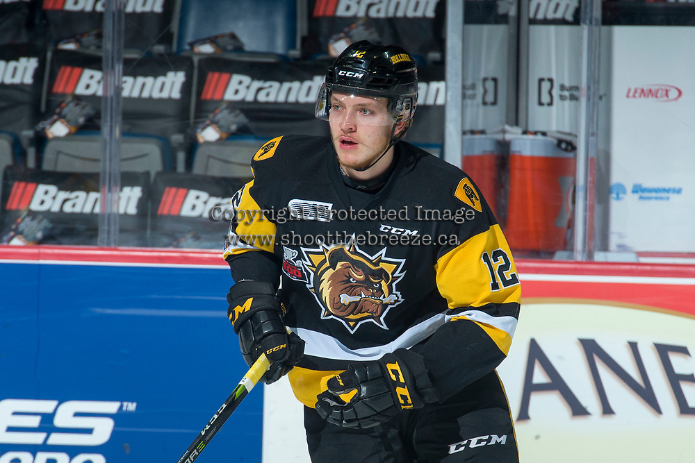 REGINA, SK - MAY 22: Zachary Jackson #12 of Hamilton Bulldogs warms up against the Acadie-Bathurst Titan at the Brandt Centre on May 22, 2018 in Regina, Canada. (Photo by Marissa Baecker/CHL Images)