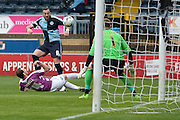 Wycombe Wanderers striker Paul Hayes (9) shoots during the Sky Bet League 2 match between Wycombe Wanderers and Barnet at Adams Park, High Wycombe, England on 16 April 2016. Photo by Dennis Goodwin.