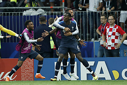 (L-R) Thomas Lemar of France, Paul Pogba of France, Corentin Tolisso of France during the 2018 FIFA World Cup Russia Final match between France and Croatia at the Luzhniki Stadium on July 15, 2018 in Moscow, Russia