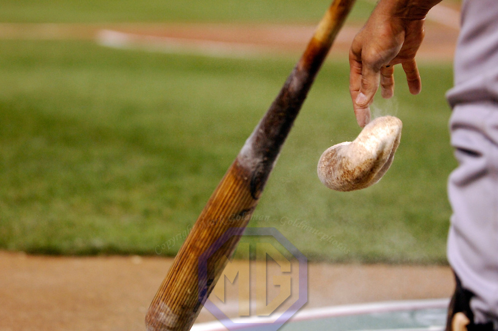 28 July 2007:  New York Yankees catcher Jorge Posada drops the rosin bag after using it on his bat before stepping to the plate in the 4th inning against the Baltimore Orioles.  The Orioles defeated the Yankees 7-5 at Camden Yards in Baltimore, MD.   ****For Editorial Use Only****