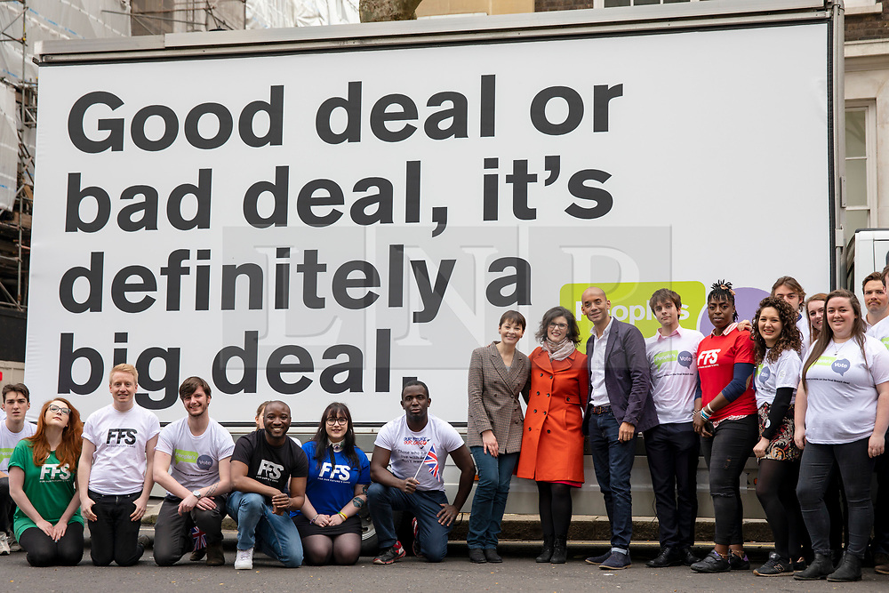 © Licensed to London News Pictures. 15/04/2018. London, UK. Green Party Co-Leader CAROLINE LUCAS (8-L), Liberal Democrat LAYLA MORAN (9-L) and Labour MP CHUKA UMUNNA (10-L) join activists in Smith Square for a photocall with an ad van from the People's Vote campaign, which is calling for a public vote on the final Brexit deal. Photo credit: Rob Pinney/LNP
