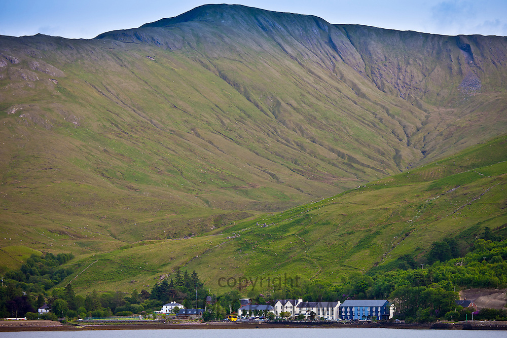 Village of Leenane,  Killary harbour and Mweelrea mountain in Connemara, County Galway, Ireland