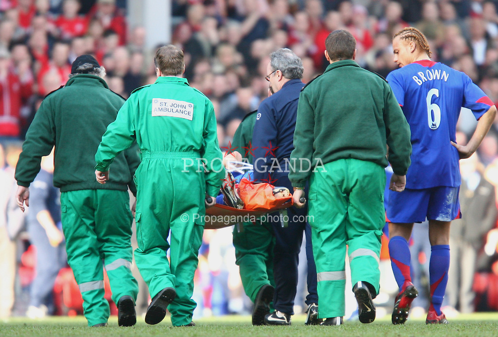 LIVERPOOL, ENGLAND - SATURDAY, FEBRUARY 18th, 2006: Manchester United's Alan Smith is carried off the pitch after breaking his leg during the FA Cup 5th Round match against Liverpool at Anfield. (Pic by David Rawcliffe/Propaganda)