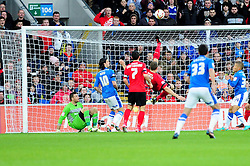 Cardiff City's Ben Turner clears the ball with a bicycle kick - Photo mandatory by-line: Dougie Allward/JMP  - Tel: Mobile:07966 386802 15/12/2012 - SPORT - FOOTBALL -  Championship -  Cardiff-  New Cardiff City Stadium  -  Cardiff City v Peterborough United