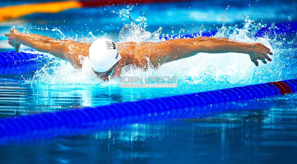 LONDEN - Ranomi Kromowidjojo na de halve finale 50 meter vrije slag in het Aquatics Centre tijdens de Olympische Spelen in Londen. Kromowidjojo en Marleen Veldhuis starten zaterdag als favorieten in de eindstrijd, ze tikten beiden in hun halve finale als eerste aan.