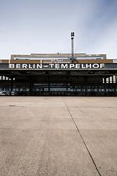 view of old Terminal buildings at Tempelhof Airport in Berlin Germany