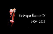 Tributes were paid to Sir Roger Bannister, the first athlete to break the 4 minute mile who died today aged 86 during the final session of the IAAF World Indoor Championships at Arena Birmingham in Birmingham, United Kingdom on Saturday, Mar 2, 2018. (Steve Flynn/Image of Sport)