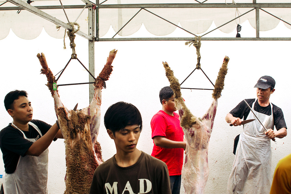 """Men butcher sheep that have been killed for Eid al-Adha - or """"Festival of Sacrifice"""" - an important religious holiday celebrated by Muslims worldwide to commemorate the willingness of Abraham (Ibrahim) to sacrifice his son Ishmael (Isma'il) as an act of obedience to God, before God intervened to provide him with a sheep to sacrifice instead...Those Muslims who can afford to, sacrifice their best domestic animals (usually a cow, but can also be a camel, goat, sheep or ram depending on the region) as a symbol of Abraham's willingness to sacrifice his only son. The sacrificed animals, called U?hiyyah, have to meet certain age and quality standards or else the animal is considered an unacceptable sacrifice. ..The meat from the sacrificed animal is divided into three parts. The family retains one third of the share; another third is given to relatives, friends and neighbors; and the other third is given to the poor and needy. The regular charitable practices of the Muslim community are demonstrated during Eid al-Adha by concerted efforts to see that no impoverished person is left without an opportunity to partake in the sacrificial meal during these days."""