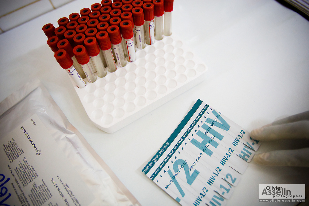 Vials used to collect blood samples for HIV tests at the NDA health center in Dimbokro, Cote d'Ivoire on Friday June 19, 2009.