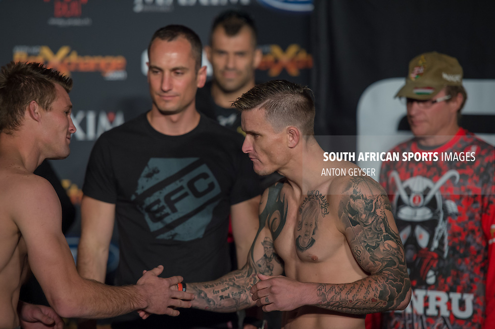 20140702, JOHANNESBURG: Bout 9: Hanru Botha vs. Wesley Hawkey &ndash; Feahterweight, during the official Weigh-in at EFC Africa 31, The Coca-Cola Dome, Johannesburg. <br /> (Photo by Anton Geyser / EFC Africa 2014)