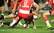 Danny Houghton of Hull Football Club dives over for a Hull try during the First Utility Super League match at Craven Park, Hull<br /> Picture by Richard Gould/Focus Images Ltd +44 7855 403186<br /> 17/04/2014