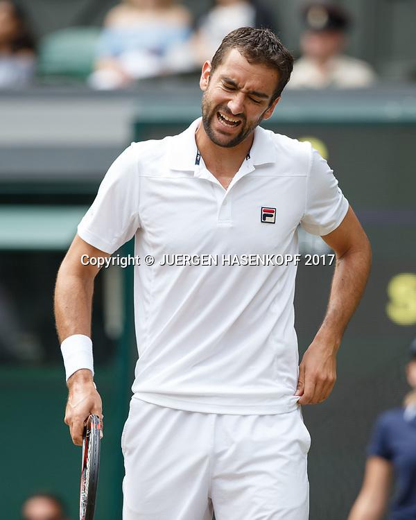MARIN CILIC (CRO) reagiert enttaeuscht,Aerger,Frust,Emotion,<br /> <br /> Tennis - Wimbledon 2017 - Grand Slam ITF / ATP / WTA -  AELTC - London -  - Great Britain  - 14 July 2017.