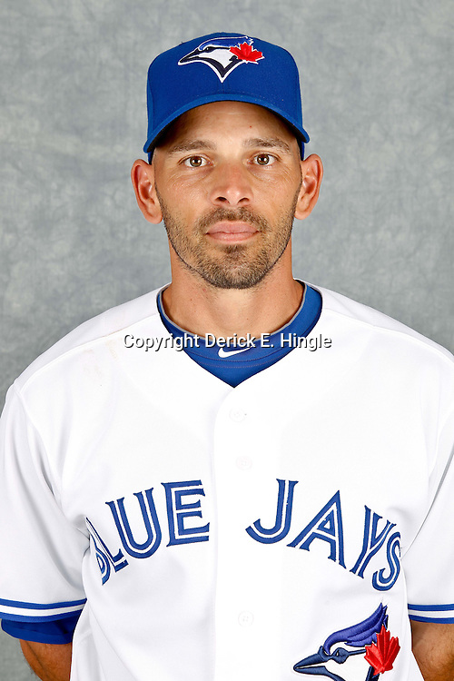 March 2, 2012; Dunedin, FL, USA; Toronto Blue Jays first baseman Chris Woodward (25) poses for a portrait during photo day at Florida Auto Exchange Stadium.  Mandatory Credit: Derick E. Hingle-US PRESSWIRE
