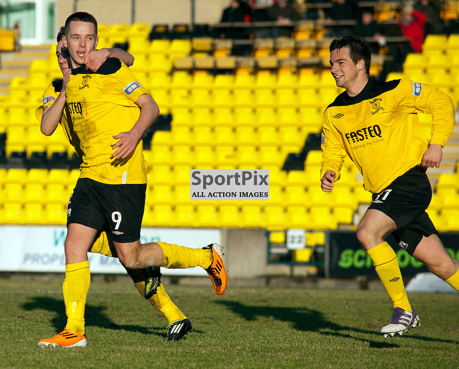 Marc McNulty(9) celebrates scoring his 2nd of the game, Livingston v Raith Rovers, SFL Division 1, Braidwood Motor Company Stadium,