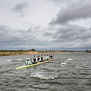 PIC BY GEOFF ROBINSON PHOTOGRAPHY 07976 880732.<br /> <br /> Picture shows the Cambridge University Boat Crew on their last training session on Saturday morning March 28th on the River Cam before they move to their London  training camp for the Boat Race in 2 weeks time.The crew were watched by the Dean of Ely.<br />  <br /> The Cambridge crew were hoping for some divine inspiration today (Sat) as they trained for the upcoming Boat Race - after losing for the past two years.<br /> <br /> The team were out rowing early on the River Cam this morning as the Dean of Ely Cathedral, Mark Bonney, looked on for support.<br /> <br /> The Dean is a former student at Cambridge University, where he studied at St Catharine's College and achieved a sports Blue in tennis and golf.<br /> <br /> He spent an hour and a half watching the crew train on the river, in what was their last training session in Cambridgeshire before they move to the training camp in London.<br /> <br /> Afterwards the Dean said: &quot;It was really thrilling to watch the crew train. I wish them all the best in the race.&quot;