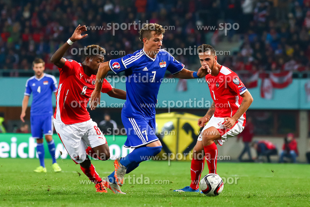 12.10.2015, Ernst Happel Stadion, Wien, AUT, UEFA Euro 2016 Qualifikation, Österreich vs Liechtenstein, Gruppe G, im Bild David Alaba (AUT), Marcel Büchel (LIE), Martin Harnik (AUT)// the UEFA EURO 2016 qualifier group G match between Austria and Liechtenstein at the Ernst Happel Stadion, Vienna, Austria on 2015/10/12. EXPA Pictures © 2015 PhotoCredit: EXPA/ Sebastian Pucher