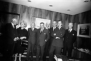01/06/1964<br /> 06/01/1964<br /> 01 June 1964<br /> Opening of new Marketing Headquarters of P.J. Carroll and Company Ltd. at Grand Parade on the Grand Canal, Dublin. The premises were officially opened by Taoiseach Sean Lemass. Picture shows Directors and Mr and Mrs Lemass (l-r): C.A. Carroll; Mrs Kathleen Lemass; Hector Ryan; Sean Lemass; Henry E. Guinness; John Hansard; Don Carroll, Chairman and Hugh Kennedy.