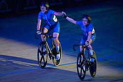 February 8, 2019 - Melbourne, VIC, U.S. - MELBOURNE, VIC - FEBRUARY 08: Annette Edmondson and Alex Manly of Australia celebrate as they win the womens Madison Race at The Six Day Cycling Series on February 08, 2019 at Melbourne Arena, VIC. (Photo by Speed Media/Icon Sportswire) (Credit Image: © Speed Media/Icon SMI via ZUMA Press)