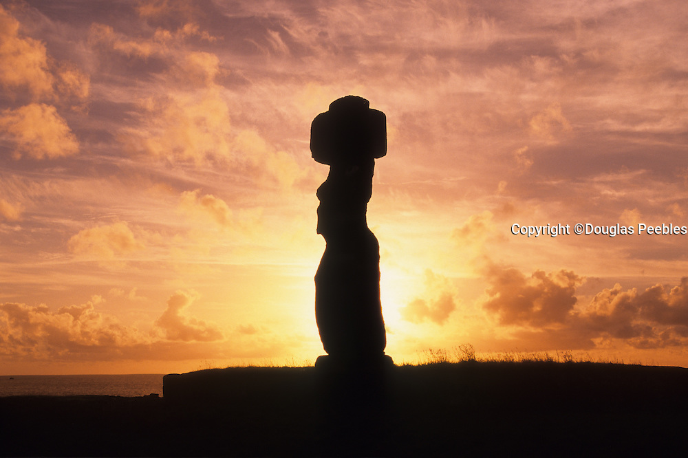 Sunset, Tahai Archeological site, restored 1968, Easter Island, Rapa Nui, Chile