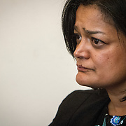 Representative Pramila Jayapal (D-WA, 7) listens to representatives of the National Association of Independent Colleges and Universities, on Tuesday, January 31, 2017.  This was the last of 4 30-minute meetings with constituent advocacy groups during the day.  John Boal photo/for The Stranger