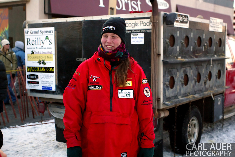 3/3/2007:  Anchorage Alaska -  Veteran Aliy Zirkle of Two Rivers, AK prior to the start of the 35th Iditarod Sled Dog Race