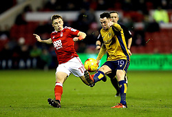 Lee Tomlin of Bristol City controls the ball under pressure from Ben Osborn of Nottingham Forest - Mandatory by-line: Robbie Stephenson/JMP - 21/01/2017 - FOOTBALL - The City Ground - Nottingham, England - Nottingham Forest v Bristol City - Sky Bet Championship