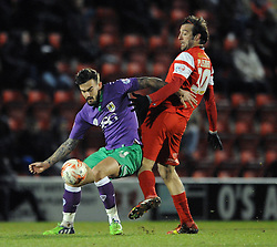 Bristol City's Marlon Pack challenges for the ball with Leyton Orient's Gianvito Plasmati - Photo mandatory by-line: Dougie Allward/JMP - Mobile: 07966 386802 - 03/03/2015 - SPORT - football - Leyton - Brisbane Road - Leyton Orient v Bristol City - Sky Bet League One