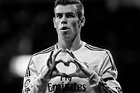 Gareth Bale of Real Madrid during La Liga match between Real Madrid and Valladolid at Santiago Bernabeu stadium in Madrid, Spain. November 30, 2013. (ALTERPHOTOS/Caro Marin)(EDITORS NOTE: This image has been converted to black and white)
