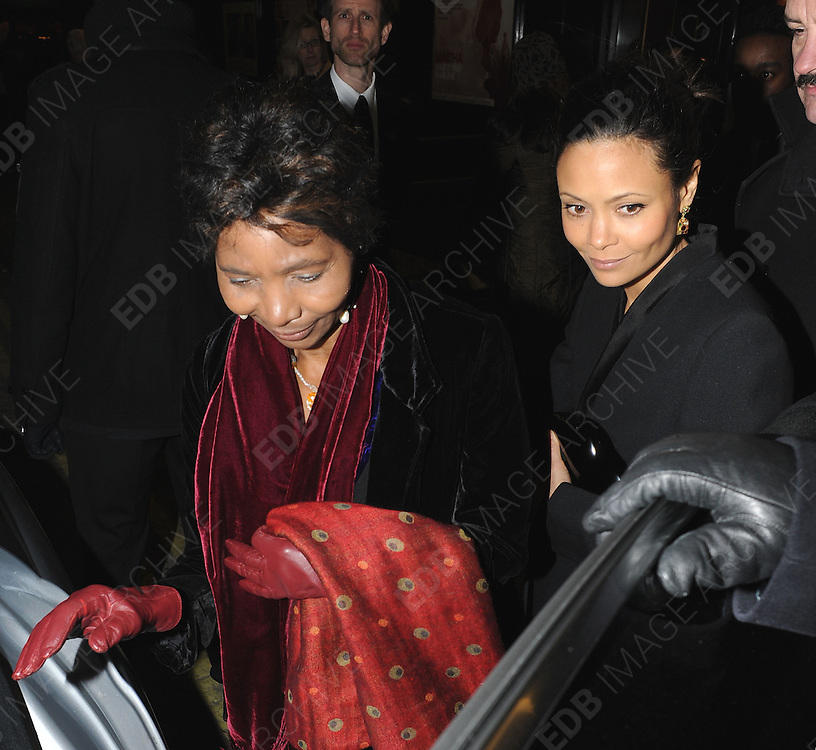 07.FEBRUARY.2012. LONDON<br /> <br /> ACTRESS THANDIE NEWTON WITH HER MOTHER NYASHA LEAVING THE CURZON CINEMA AFTER WATCHING THE NEW FILM 'THE BEST EXOTIC MARIGOLD HOTEL' PREMIERE IN LONDON<br /> <br /> BYLINE: EDBIMAGEARCHIVE.COM<br /> <br /> *THIS IMAGE IS STRICTLY FOR UK NEWSPAPERS AND MAGAZINES ONLY*<br /> *FOR WORLD WIDE SALES AND WEB USE PLEASE CONTACT EDBIMAGEARCHIVE - 0208 954 5968*