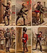 London street scenes. Postman delivering letters: Fireman fighting a fire: Railway Porter with trolley of luggage: Policeman on crowd duty: Guardsman of sentry duty: Newsboy selling papers.. Illustrations by Horace William Petherick (1839-1919) for a children's book published London c1875.