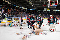KELOWNA, CANADA - DECEMBER 1: the Kelowna Rockets clear teddy bears from the ice during the annual toss against the Saskatoon Blades  on December 1, 2018 at Prospera Place in Kelowna, British Columbia, Canada.  (Photo by Marissa Baecker/Shoot the Breeze)