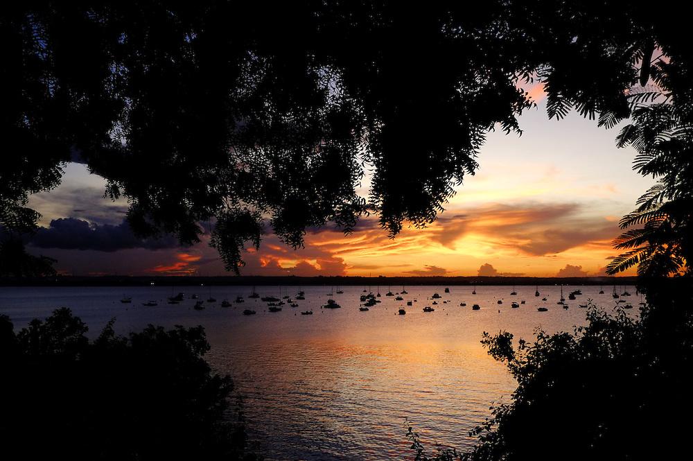 Dar es Salaam, Tanzania - 05APR14 - Sunset on the Indian Ocean near the Yacht Club on Msasani Peninsula in Dar es Salaam, Tanzania.  Photo by Daniel Hayduk