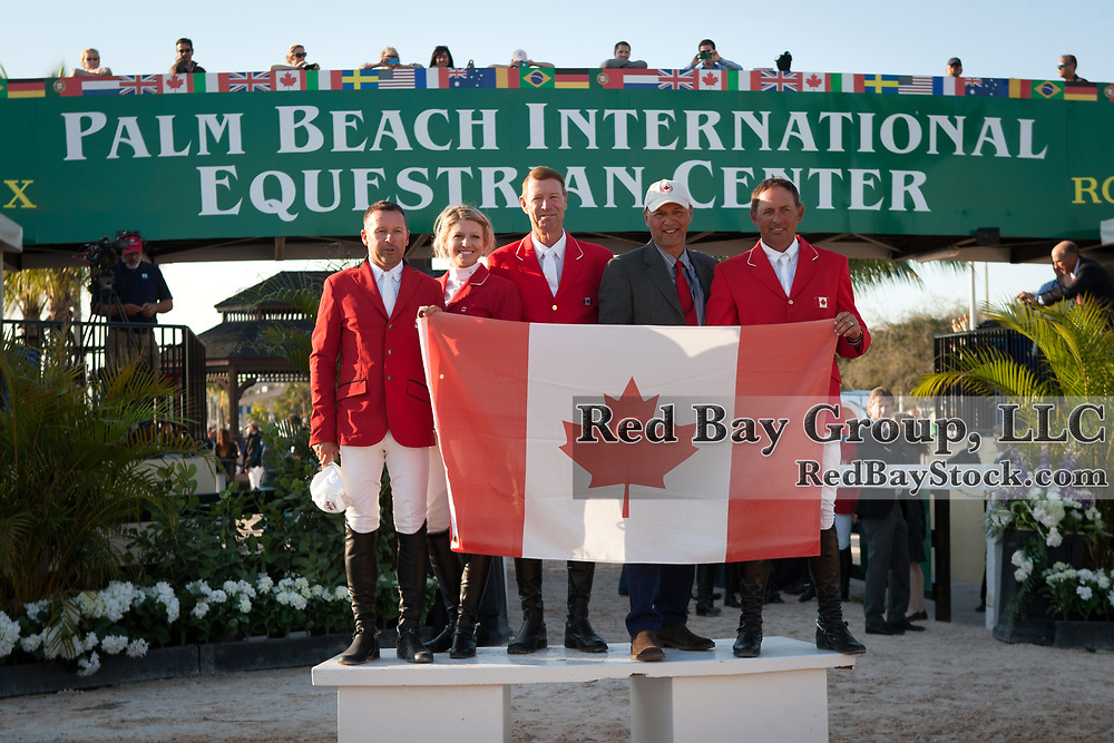 Canadian Team at the 2014 Furusiyya FEI Nations Cup held during the Winter Equestrian Festival in Wellington, Florida.