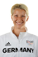 Sabrina Hering poses at a photocall during the preparations for the Olympic Games in Rio at the Emmich Cambrai Barracks in Hanover, Germany. July 04, 2016. Photo credit: Frank May/ picture alliance. | usage worldwide