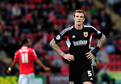 Bristol City's Aden Flint  cuts a dejected figure - Photo mandatory by-line: Dougie Allward/JMP - Tel: Mobile: 07966 386802 19/10/2013 - SPORT - FOOTBALL - Alexandra Stadium - Crewe - Crewe V Bristol City - Sky Bet League One
